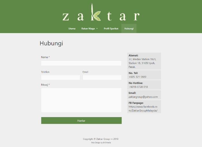 website korporat portfolio contact zaktar group